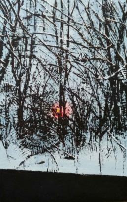Judith Marin Zoé peinture vinylique et pigments sur toile paysage enneigé