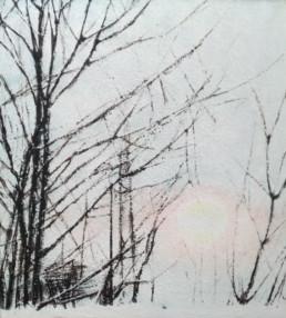 2020, peinture vinylique sur toile et pigments, 90 x 100 cm