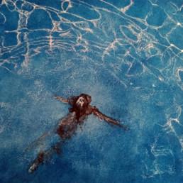 Bleu de Marianne - Judith Marin, 2021, peinture vinylique sur toile et pigments, 58x63cm